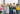 group of diverse kindergarten students standing P3QM736